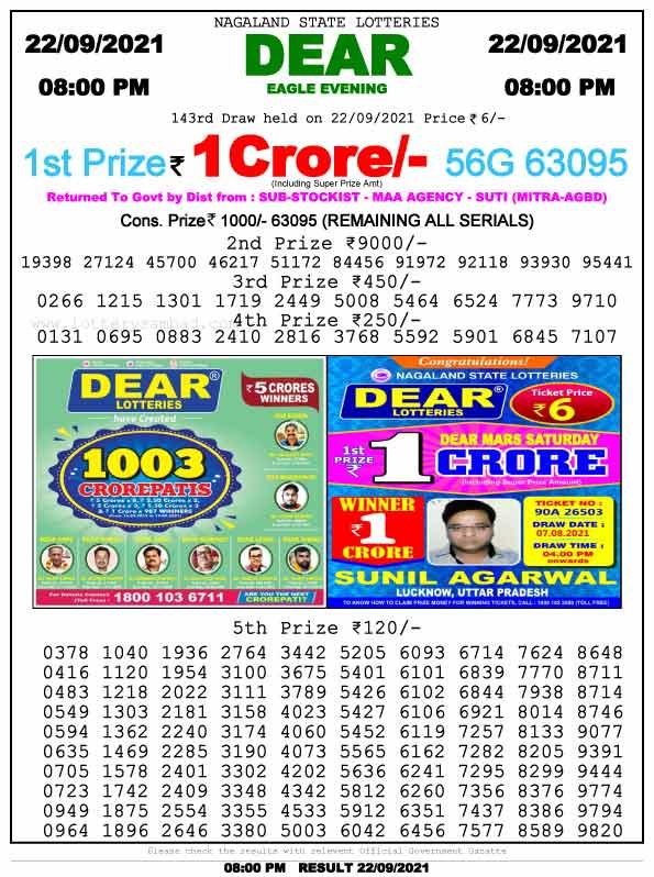 Lottery Sambad 8pm result 22.9.2021