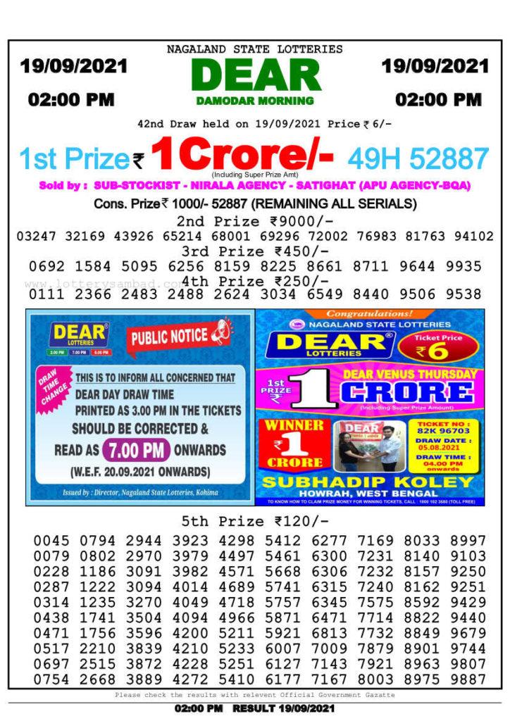 Lottery Sambad 2pm result 19.9.2021