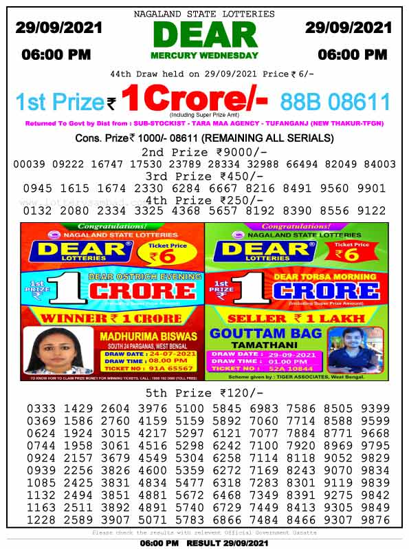 Lottery Sambad 6pm Result 29.9.2021