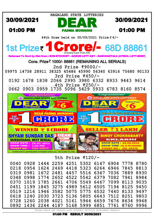 Nagaland 1pm lottery result 30.9.2021