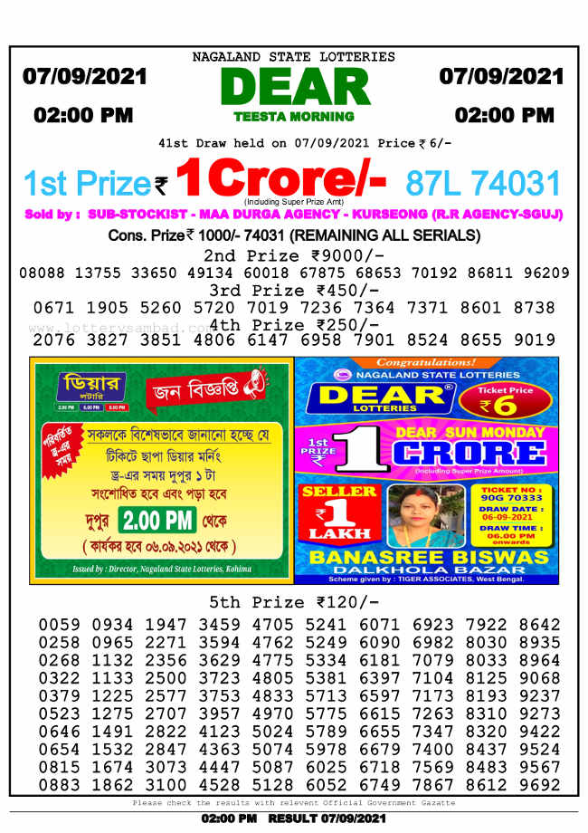 Nagaland Lottery 2pm result 7.9.2021