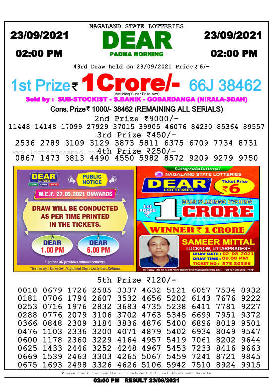 Lottery Sambad 2pm result 23.9.2021
