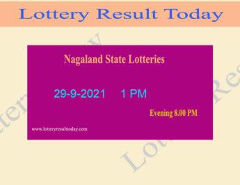 Nagaland Lottery Sambad 1 PM Result (29.9.2021) Live Result, Dear 1PM, Morning
