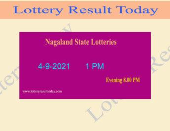 Nagaland Lottery Sambad 1 PM Result (4.9.2021) Live Result*, Dear 1PM, Morning