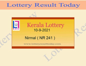 Nirmal NR 241 Lottery Result 10.9.2021 (Live Kerala Lottery Result)