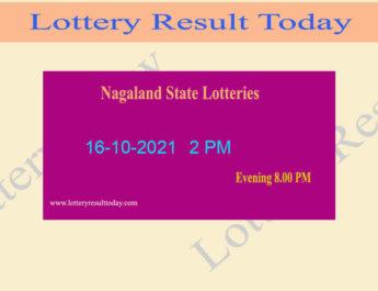 Nagaland Lottery Sambad 2 PM Result (16.10.2021) Live Result, Dear 2PM, Morning