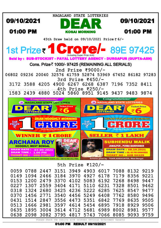 Nagaland State 1 pm lottery result 9.10.2021