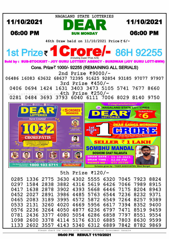 Nagaland State 6 pm lottery result 11.10.2021