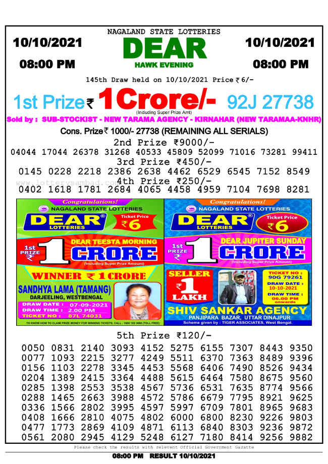 Nagaland State 8pm lottery result 10.10.2021