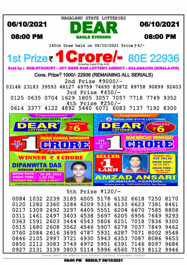 Nagaland state 8pm lottery result 6.10.2021