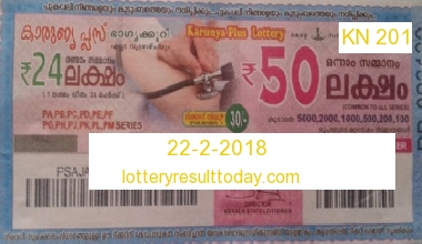 Karunya Plus KN 201 Lottery Result 22-2-2018 Today