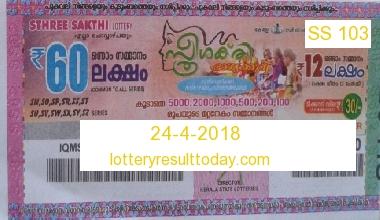 24-4-2018 Sthree Sakthi Lottery Result SS 103 – Kerala